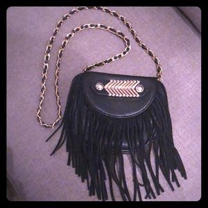 Adorable Black Leather Bag with Fringe